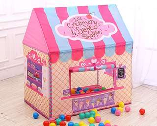 *In Stock* ~Free Gift~ BN Kids Bakery Ice Cream Waffle Sweets Shop Play House Cottage Tent for Girls / Boys ~ Pink & Blue