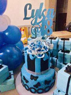 Black and Blue Debut Themed Cake