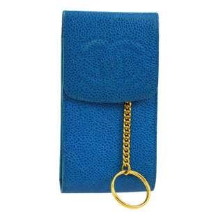 Auth CHANEL blue caviar key pouch