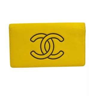 Auth CHANEL yellow leather long wallet