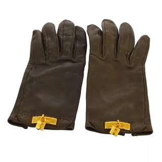 Auth HERMES dark brown leather gloves