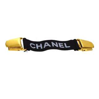 Auth CHANEL black arm band belt