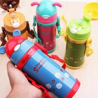 🚚 ♥New Arrival♥ Children Kids Cute Animal Vacuum Flask with Drinking Straw/Thermos/Water Sling Bottle
