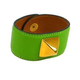 Auth HERMES yellow green veau bangle