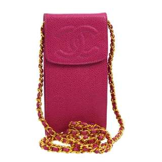 Auth CHANEL pink caviar shoulder chain bag