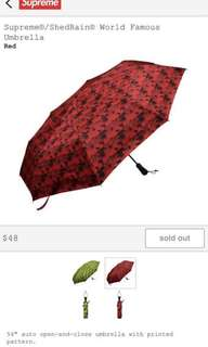 Supreme Shedrain Red Umbrella自動開關雨傘