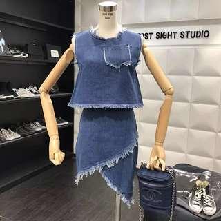 Ripped Denim Jeans Set Wear Asymmetrical Skirt