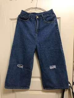 🚚 高腰牛仔單寧八分寬褲