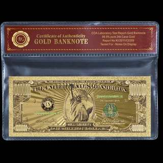 US Gold Banknote Color $1 Million Dollar USA Currency Bill Banknote For Collection Gift Set