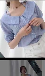🚚 水藍色韓版露肩上衣
