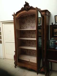 Antique French Armoir, Double Leaf Door, fabric lined.
