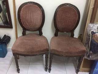 A Pair of Antique  French Curved Back Chairs.