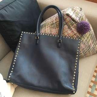 Valentino Caravani Rockstud Dark Blue Leather bag