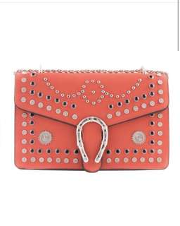 BNWT Red Studded Horseshoe Shoulder Bag