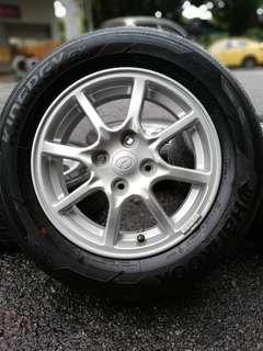 """Original sports rim bezza 14 inch tyre bunga 99%. """" you beli you jimat, you tak beli you rugi mat!!!! """""""