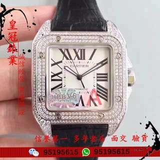 面交 卡地亞 Cartier SANTOS 100 系列 山度士 滿天星 鑲鑽 男 錶42mm