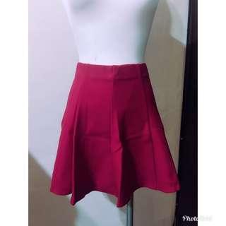 🚚 紅色鬆緊腰褲裙