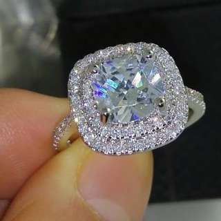Silver Ring with Diamonds cz
