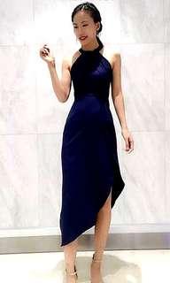 Dark Blue Halter Neck Dress