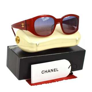 Auth CHANEL red eyewear