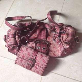 GUESS handbag and wallet set