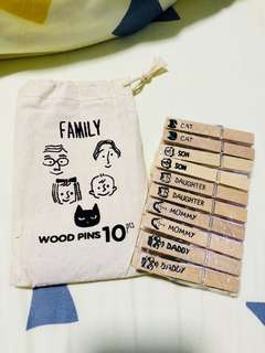 wooden pins with pouch