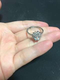 天空藍托帕石讓925銀介指 戒指 純银銀飾 blue topaz ring silver free size