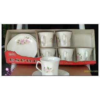 New 6pc English Rose Teacups Coffee Cups Set