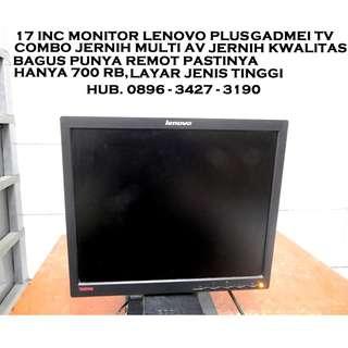 "17""Monitor VGA plus Gadmei Tv Combo Multi Remot Bagus KATAPANG SOREANG"