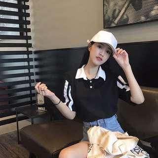 全新 現貨夏裝 女裝 韓版 百搭 顯瘦 打底衫 上衣 拼色 條紋 POLO領 短袖 T恤 襯衫