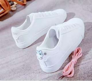Korean White Casual Shoes (Microfiber Leather)