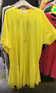 韓國黃色連衣裙