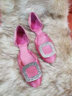 Authentic Roger Vivier Dorsay In Pink Satin Ballet Flats Size 36