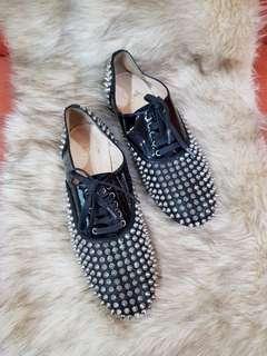 Authentic Christian Louboutin Black Studded Lace Up Ladies Shoes Size 38