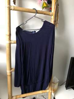 Navy S Knit Jumper Long Relaxed Fit