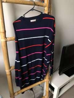Navy Stripe Knit Jumper Dress. Size 10.