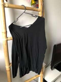 Black V Neck Knit Jumper Small