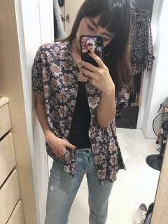 🚚 古著上衣 vintage clothing 紫色復古碎花襯衫