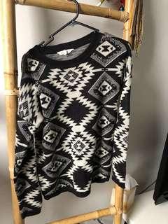 Aztec Print Knit Jumper Black Size M