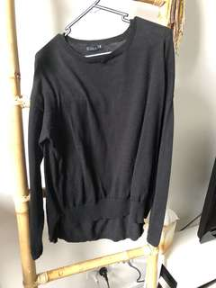 Black Jumper Knit Long Sleeve High Low
