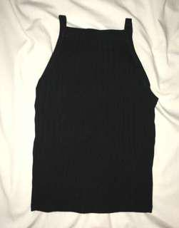 Black Ribbed Halter Tank