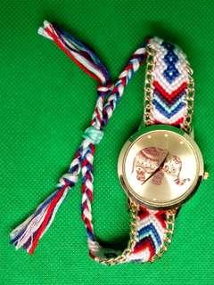 Gold Elephant Braided Strap Watch