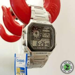 CASIO 鋼黑方塊手錶