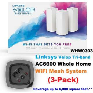 Linksys WHW0303 VELOP Whole Home MESH WI-FI System (3-pack)