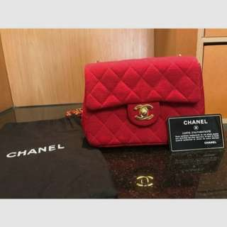 Vintage Chanel紅色布質金扣mini flap bag 17x13x6cm