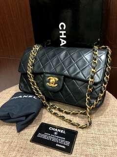 Vintage Chanel黑色羊皮金扣Double Flap bag 25x14x6cm