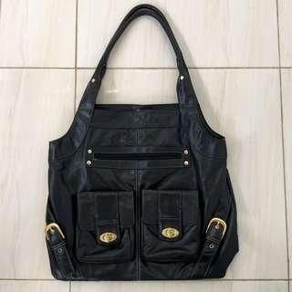 Leather Woman Bag (Black) - Tas Kulit Handmade from Japan, No Brand