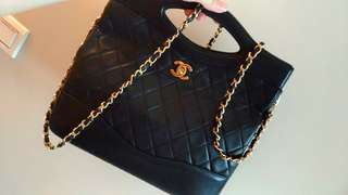 Vintage Chanel黑色羊皮classic handle/chain bag 27x26x7cm