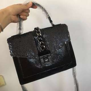 ALDO Fuschia Black Glitter Lace Crossbody Bag