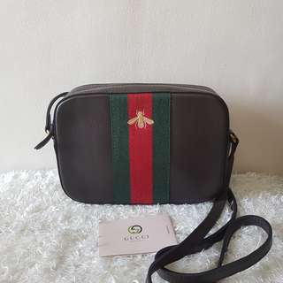 Authentic Gucci Bee GG Webby Crossbody Dark Cocoa Bag